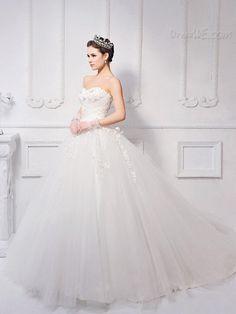 $176.39 Dresswe.comサプライ品時代を超越したボールガウン床の長さの恋人ネックレースアップアップリケ/スパンコールのウェディングドレス
