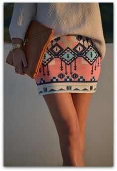 taking the tribal skirts into fall, love the chunky sweater