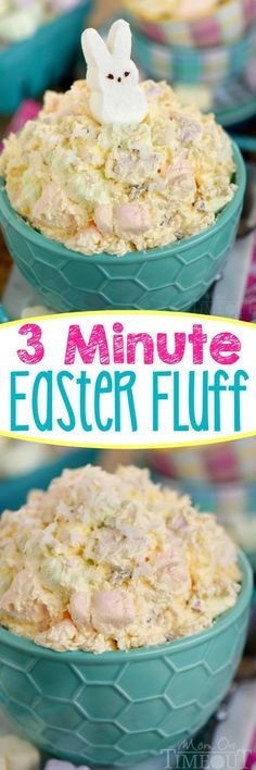 This easy dump and go, one-bowl Three Minute Easter Fluff is the perfect addition to your Easter festivities! A delicious dessert salad that everyone will enjoy! The pretty pastel colors make it perfect for baby showers too! // Mom On Timeout Desserts Ostern, Köstliche Desserts, Holiday Desserts, Holiday Recipes, Dessert Recipes, Easter Desserts, Recipes Dinner, Dip Recipes, Dessert Ideas