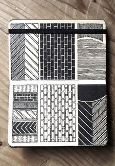 Moleskine by Rebecca Blair Kunstjournal Inspiration, Sketchbook Inspiration, Art Sketchbook, Architecture Sketchbook, Drawing Journal, Fashion Sketchbook, Doodle Patterns, Zentangle Patterns, Zentangles