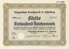 Bürgerliches Brauhaus AG Istenburg Aktie 1000 RM 1942