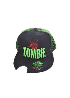 Kreepsville 666 Zombie Baseball Cap - Size: One Size HBZB The Zombie Baseball Cap is an undead snapback hat with a green brain back print and a bite taken out of the peak. It has an embroidered Zombie and bullet hole front print. Creepy! http://www.comparestoreprices.co.uk/baseball-caps/kreepsville-666-zombie-baseball-cap--size-one-size-hbzb.asp