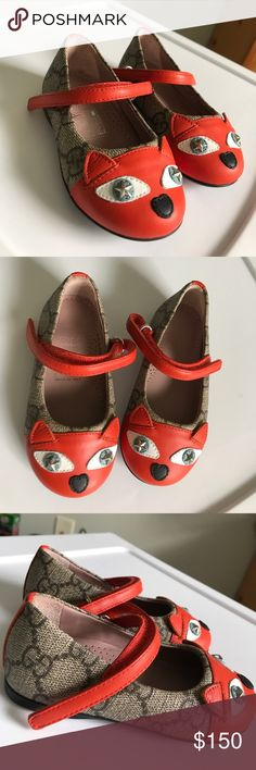 Gucci Toddler Girls Fox Flats Authentic, brand new without box/tags Gucci Toddler Girls flats. Size 20 or 4 for toddlers. Gucci Shoes Baby & Walker