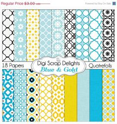 40 Off SALE Digital Papers in Blue & Yellow by DigiScrapDelights
