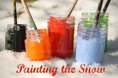 PAINT THE SNOW! This is such a fun activity for all ages. Great way for the family to have some backyard fun in the winter.