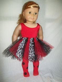 18 inch American Girl Doll Ladybug Tutu Outfit by Emilysdollcloset, 16.00