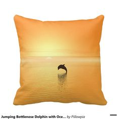 Jumping Bottlenose Dolphin with Ocean Sunrise Throw Pillow