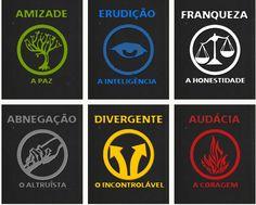 """Ícones das facções da série de livros """"Divergente"""""""
