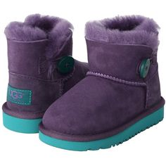 UGG Kids Mini Baily Button (Toddler/Little Kid) ($100) ❤ liked on Polyvore featuring baby, shoes, kids, baby shoes, boots and petunia
