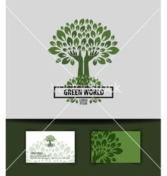 Tree logo icon sign emblem template business card vector by AvaBitter on VectorStock®