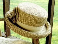 Finely Woven Women's Straw Hat With Flower by dazzledbyvintage, $16.00