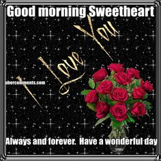 Good morning Sweetheart Always and forever.  Have a wonderful day
