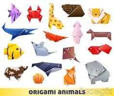 18 colour origami animal design vector
