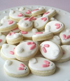 You could easily make these with an egg-shaped cookie cutter, white frosting, good-and-plenty candies for the ears and mini chocolate chips for the eyes. Marshmallow for the tail, maybe?