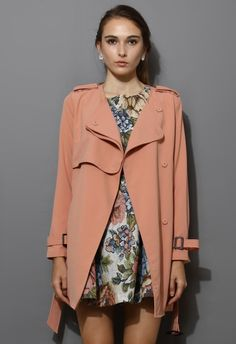 Chiffon Belted Trench Coat in Pink