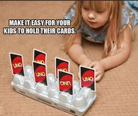 Fun Things To Do With Your Kids.Cut slits into the bottom of an egg carton for an easy card holder for kids with little hands. Perfect for game nights! Playing Card Holder, Playing Cards, Baby Kind, Craft Activities, Little People, Games For Kids, Kids Playing, Cool Kids, Crafts For Kids