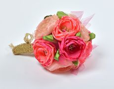 Peach,gold ,pink & green fabric flower bouquet by Art accessories made with love on https://www.breslo.ro/aura.angeline