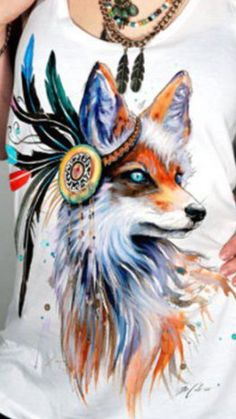 Foxy shirt. Possible tattoo. Would replace Native headdress with Bohemian beaded strands and headpiece.