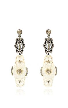 Carved Mammoth And Diamond Earrings In White by Bochic - Moda Operandi