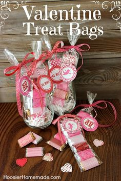 Easy Valentine Treat Bags for Classroom Treats, Friends, Neighbors or your Sweetheart! Instructions on HoosierHomemade.com