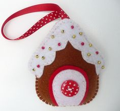 Gingerbread House Felt Christmas Decoration - Folksy
