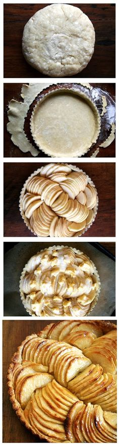 French Apple Tart Recipe 1 cups flour, plus more for dusting 1 tablespoon sugar (optional — this is my addition. I love a little sugar in a tart shell. unsalted butter, cubed a… Tart Recipes, Apple Recipes, Sweet Recipes, Dessert Recipes, Cooking Recipes, Sweet Pie, Sweet Tarts, Just Desserts, Delicious Desserts