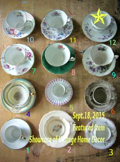 ✿ ✿ ✿ Featured Item on Vintage Home Decor Showcase for Sept. 18, 2015 ✿ ✿ ✿ How cool is this!? A dozen antique tea cups and saucers to choose from! Sold seperately or as a group! You get to choose! ✿ ✿ ✿ Rush Creek Vintage on etsy