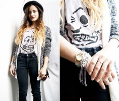 H&M Hat, H&M Cardigans, Cheap Monday T Shirt, Jc Jeans Jeans, Thrifted Bag, Primark Watch