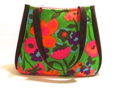 #vintage cotton print and #vegan vinyl one-of-a-kind Colleen Tote, $75