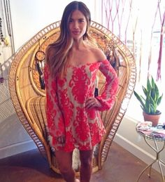 The uber sexy, Rocky Barnes, absolutely owning this cute off-the-shoulder frock by For Love & Lemons. Gorgeous!