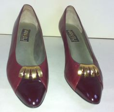 Classic Burgundy Vaneli Italian Leather Pumps 1.5-in w/Patent Leather Toes 10 #Vaneli #PumpsClassics #WeartoWork