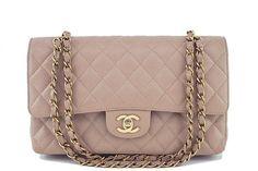 Chanel Taupe Beige Caviar Medium Classic 2.55 Double Flap Bag
