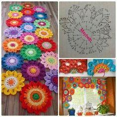 Diy adorn your window with a flower crochet valance – Artofit Crochet Diy, Mandala Au Crochet, Diy Crochet Flowers, Mode Crochet, Crochet Motifs, Crochet Flower Patterns, Crochet Diagram, Afghan Crochet Patterns, Crochet Home