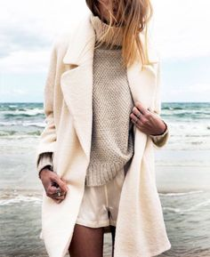 winter white sweater, cool gray jacket | STYLE | Pinterest