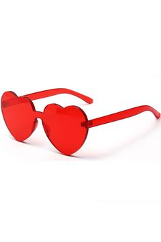 ce462b71a9 Red Heart Shape Rimless Clear Sunglasses