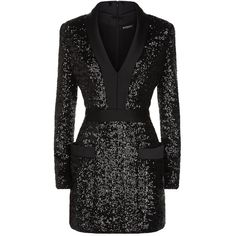 Balmain Satin Trim Sequin Mini Dress (€3.245) ❤ liked on Polyvore featuring dresses, v neck dress, short sequin dress, v-neck dresses, long sleeve mini dress and short dresses