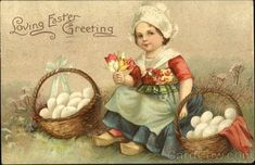 Little DUtch Girl and Two Baskets of Eggs With Children