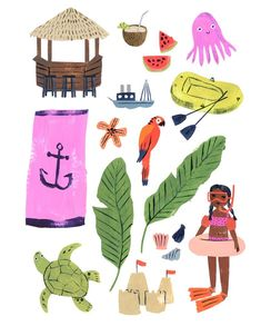 penelope dullaghan illustration for Flow Magazine Beach Illustration, Magazine Illustration, Children's Book Illustration, Abstract Lines, Beautiful Drawings, Doodle Drawings, Crayon, Creative Art, Cute Art