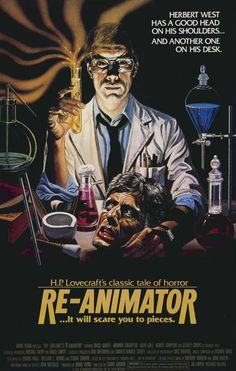 """Herbert West is obsessed with the idea of bringing the dead back to life. Experimenting with a glowing green fluid, he successfully reanimates dead tissue. However, the dead are uncontrollable and difficult to subdue."" Find H.P. Lovecraft's RE-ANIMATOR in our catalog: http://highlandpark.bibliocommons.com/item/show/1430540035_hp_lovecrafts_re-animator"