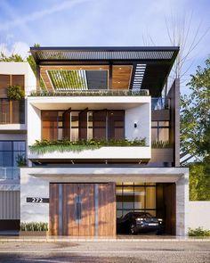 107 popular contemporary exterior house design ideas -page 20 3 Storey House Design, Bungalow House Design, House Front Design, Small House Design, Best Modern House Design, Modern Villa Design, Minimalist House Design, Urban Design, Modern House Facades