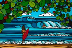 e13116b2cc North Shore Holiday - The perfect Hawaiian Vacation with a beautiful  morning on the North Shore of Oahu by Hawaii surf artist Heather Brown