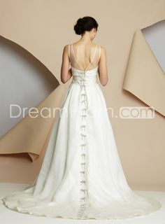 Spectacular A-line Bateau Floor-length Chapel Train Wedding Dresses