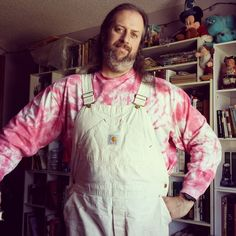 Pink and white! (Formerly red but it faded over years.) #ootd #overalls #Carhartt #tiedye