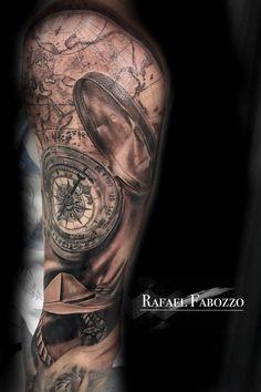 Cmpass Realistic Tattoo by Rafael Fabozzo Color Tattoo, Tattoo Art, Eagle Tattoos, Tatting, Skull, Compass, Colors, Ideas, Color Tattoos