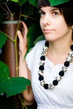 stunning.    Fashion necklace  Black and white necklace  Elegant by SuddenlyYou,
