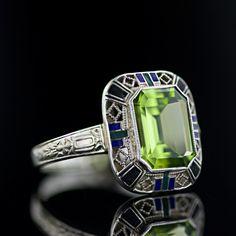 Art Deco Peridot & Enamel Ring