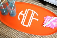 DIY serving tray tutorial. this teaches you how to make a personalized tray with a stencil you make yourself...