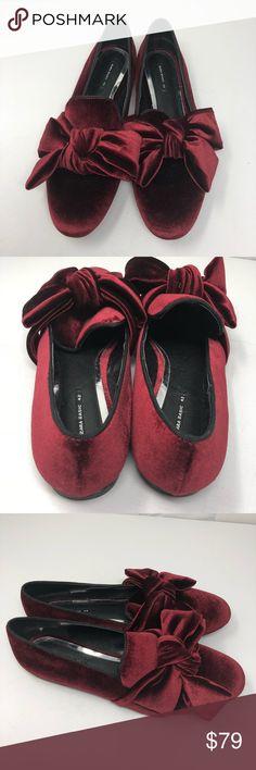 Zara 42 us ll Zara velvet bow flat Bloggers favorite Zara red bow velvet  Euro 41 sz 11 NWT Zara Shoes Flats & Loafers