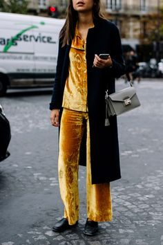 Nail the pajama dressing trend in the winter with a velvet co-ord and duster coat