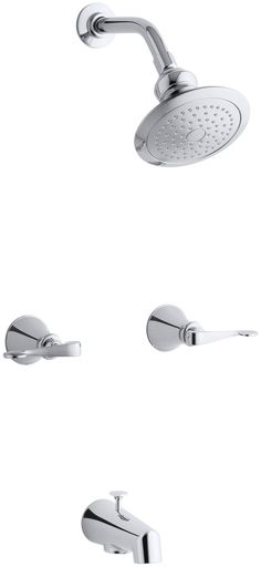 Revival Bath and Shower Faucet with Scroll Lever Handles and Standard Showerarm and Flange